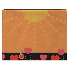 Love Heart Valentine Sun Flowers Cosmetic Bag (XXXL)