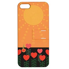 Love Heart Valentine Sun Flowers Apple Iphone 5 Hardshell Case With Stand by Nexatart