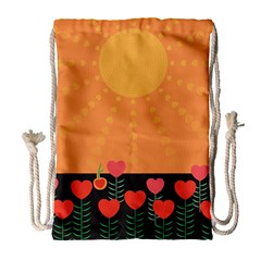 Love Heart Valentine Sun Flowers Drawstring Bag (large) by Nexatart