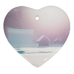 Winter Day Pink Mood Cottages Ornament (heart) by Nexatart
