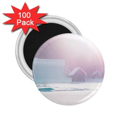 Winter Day Pink Mood Cottages 2 25  Magnets (100 Pack)  by Nexatart