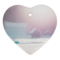 Winter Day Pink Mood Cottages Heart Ornament (two Sides) by Nexatart