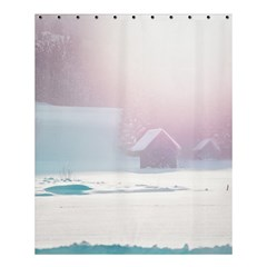 Winter Day Pink Mood Cottages Shower Curtain 60  X 72  (medium)  by Nexatart