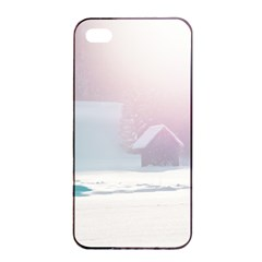 Winter Day Pink Mood Cottages Apple Iphone 4/4s Seamless Case (black) by Nexatart