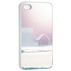 Winter Day Pink Mood Cottages Apple Iphone 4/4s Seamless Case (white) by Nexatart