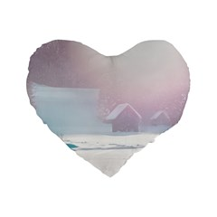 Winter Day Pink Mood Cottages Standard 16  Premium Heart Shape Cushions by Nexatart