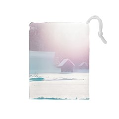 Winter Day Pink Mood Cottages Drawstring Pouches (medium)  by Nexatart