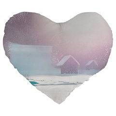 Winter Day Pink Mood Cottages Large 19  Premium Flano Heart Shape Cushions by Nexatart
