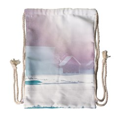 Winter Day Pink Mood Cottages Drawstring Bag (large) by Nexatart