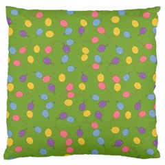 Balloon Grass Party Green Purple Large Cushion Case (two Sides) by Nexatart