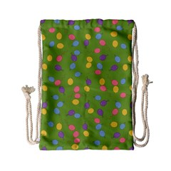 Balloon Grass Party Green Purple Drawstring Bag (small) by Nexatart
