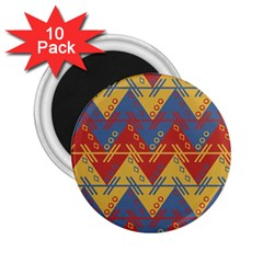 Aztec South American Pattern Zig Zag 2 25  Magnets (10 Pack)  by Nexatart
