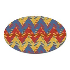 Aztec South American Pattern Zig Zag Oval Magnet