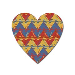 Aztec South American Pattern Zig Zag Heart Magnet by Nexatart