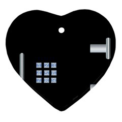 Safe Vault Strong Box Lock Safety Heart Ornament (two Sides) by Nexatart