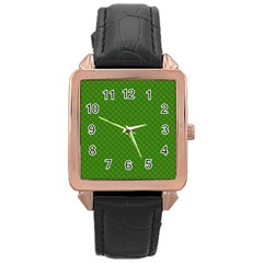 Paper Pattern Green Scrapbooking Rose Gold Leather Watch  by Nexatart