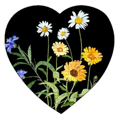 Flowers Of The Field Jigsaw Puzzle (heart) by Nexatart