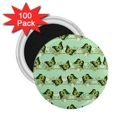 Green Butterflies 2 25  Magnets (100 Pack)  by linceazul