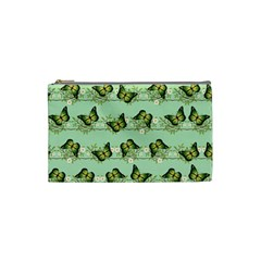 Green Butterflies Cosmetic Bag (small)  by linceazul