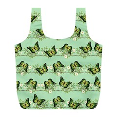 Green Butterflies Full Print Recycle Bags (l)  by linceazul
