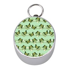 Green Butterflies Mini Silver Compasses by linceazul