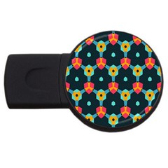 Connected Shapes Pattern          Usb Flash Drive Round (4 Gb) by LalyLauraFLM