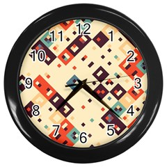Squares In Retro Colors         Wall Clock (black) by LalyLauraFLM