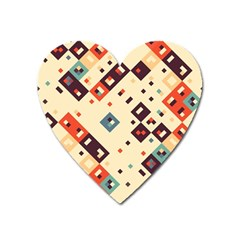 Squares In Retro Colors         Magnet (heart) by LalyLauraFLM