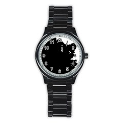 Abstraction Stainless Steel Round Watch by Valentinaart