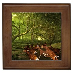 Red Deer Deer Roe Deer Antler Framed Tiles by Nexatart