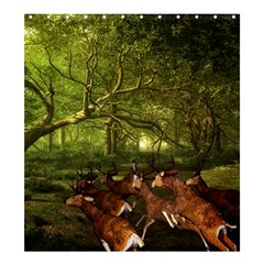 Red Deer Deer Roe Deer Antler Shower Curtain 66  X 72  (large)  by Nexatart