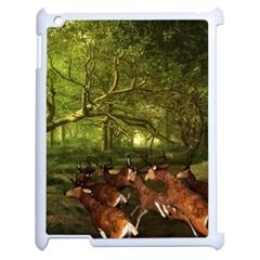Red Deer Deer Roe Deer Antler Apple Ipad 2 Case (white) by Nexatart
