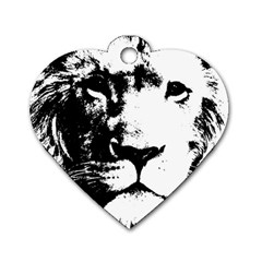 Lion  Dog Tag Heart (one Side) by Valentinaart