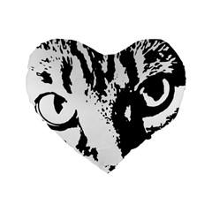 Cat Standard 16  Premium Flano Heart Shape Cushions by Valentinaart