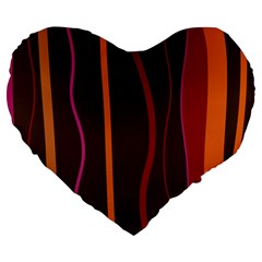 Colorful Striped Background Large 19  Premium Heart Shape Cushions by TastefulDesigns