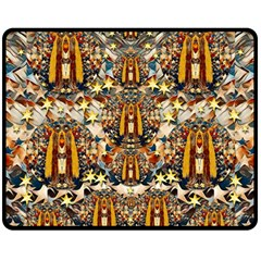 Lady Panda Goes Into The Starry Gothic Night Double Sided Fleece Blanket (medium)  by pepitasart