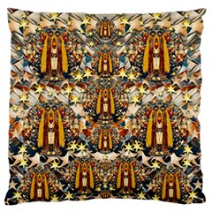 Lady Panda Goes Into The Starry Gothic Night Large Flano Cushion Case (two Sides) by pepitasart