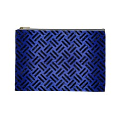 Woven2 Black Marble & Blue Brushed Metal (r) Cosmetic Bag (large) by trendistuff