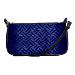 Woven2 Black Marble & Blue Brushed Metal (r) Shoulder Clutch Bag by trendistuff