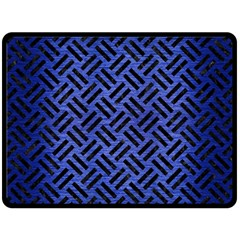 Woven2 Black Marble & Blue Brushed Metal (r) Double Sided Fleece Blanket (large) by trendistuff