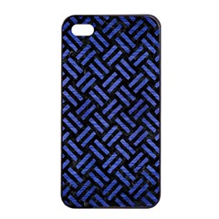 Woven2 Black Marble & Blue Brushed Metal Apple Iphone 4/4s Seamless Case (black) by trendistuff