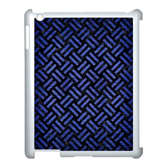 Woven2 Black Marble & Blue Brushed Metal Apple Ipad 3/4 Case (white) by trendistuff