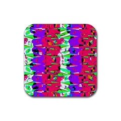 Colorful Glitch Pattern Design Rubber Square Coaster (4 Pack)  by dflcprints