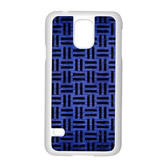 Woven1 Black Marble & Blue Brushed Metal (r) Samsung Galaxy S5 Case (white) by trendistuff