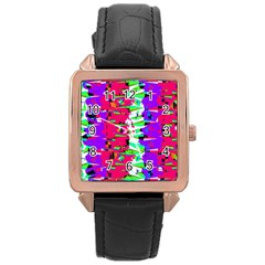Colorful Glitch Pattern Design Rose Gold Leather Watch  by dflcprints