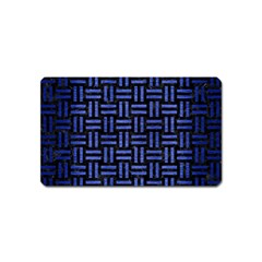 Woven1 Black Marble & Blue Brushed Metal Magnet (name Card) by trendistuff