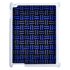 Woven1 Black Marble & Blue Brushed Metal Apple Ipad 2 Case (white) by trendistuff