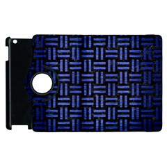 Woven1 Black Marble & Blue Brushed Metal Apple Ipad 3/4 Flip 360 Case by trendistuff
