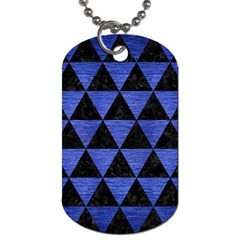 Triangle3 Black Marble & Blue Brushed Metal Dog Tag (two Sides) by trendistuff