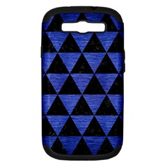 Triangle3 Black Marble & Blue Brushed Metal Samsung Galaxy S Iii Hardshell Case (pc+silicone) by trendistuff